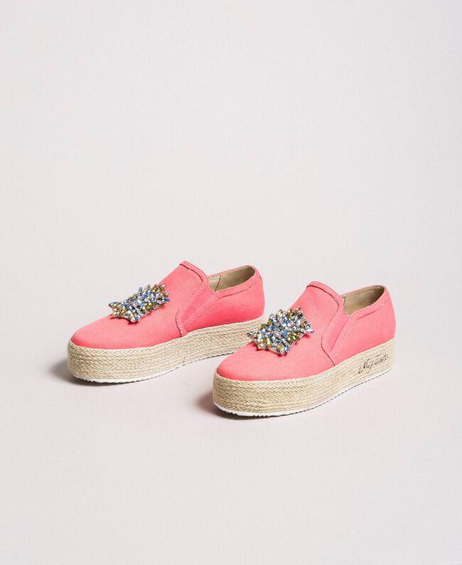Chaussures slip-on en toile avec pierres Rose Camélie Femme 191MCP038-03