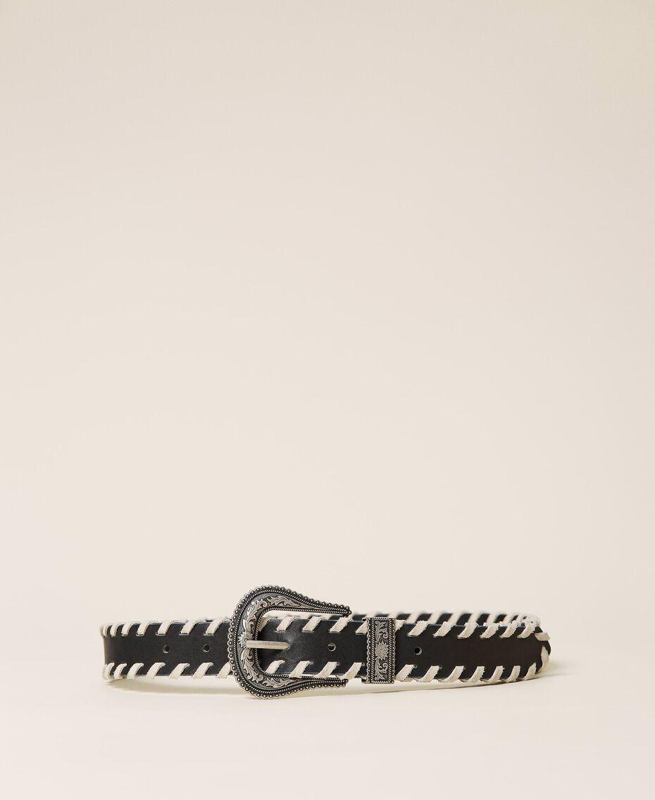 Ceinture en cuir avec détails contrastés Bicolore Blanc Neige/ Noir Femme 212TA4119-02