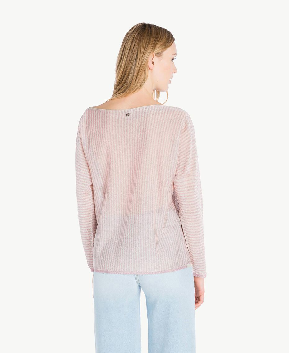 Pull rayures Rayure Rose « Hortensia » / Platine Femme PS83XP-03