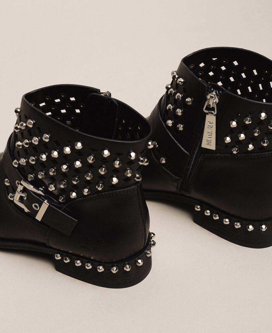 Biker boots with rhinestones and logo Black Woman 201MCP040-03