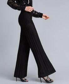 Pantalon large en maille plissée lurex Noir Lurex Femme PA83CE-01
