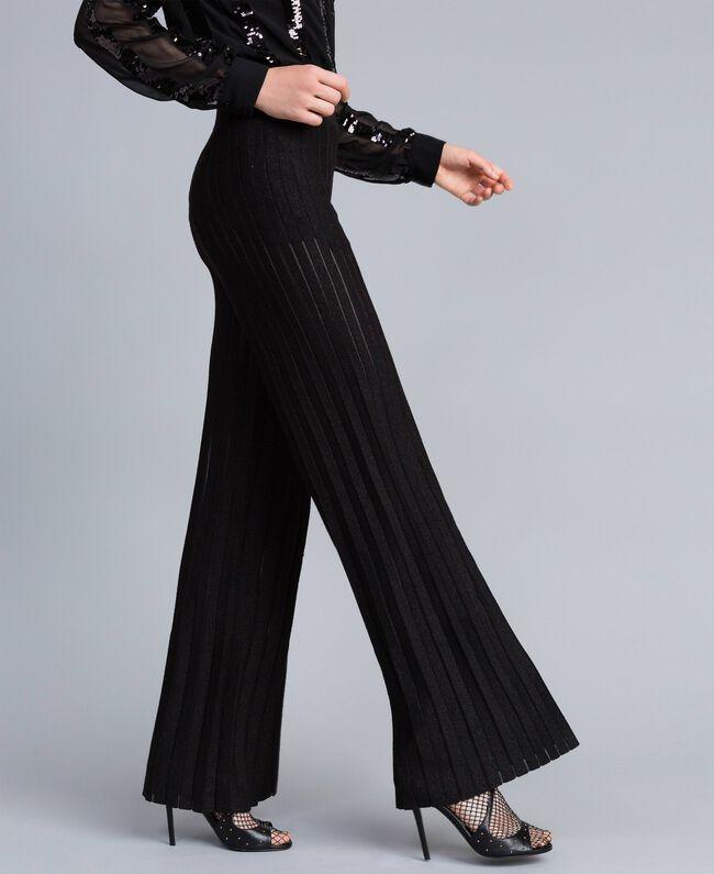 Pantaloni ampi in maglia plissé lurex Nero Lurex Donna PA83CE-01