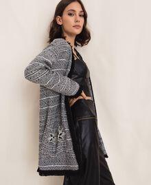Длинный твидовый жакет с вышивкой Черный женщина 201LB23BB-01