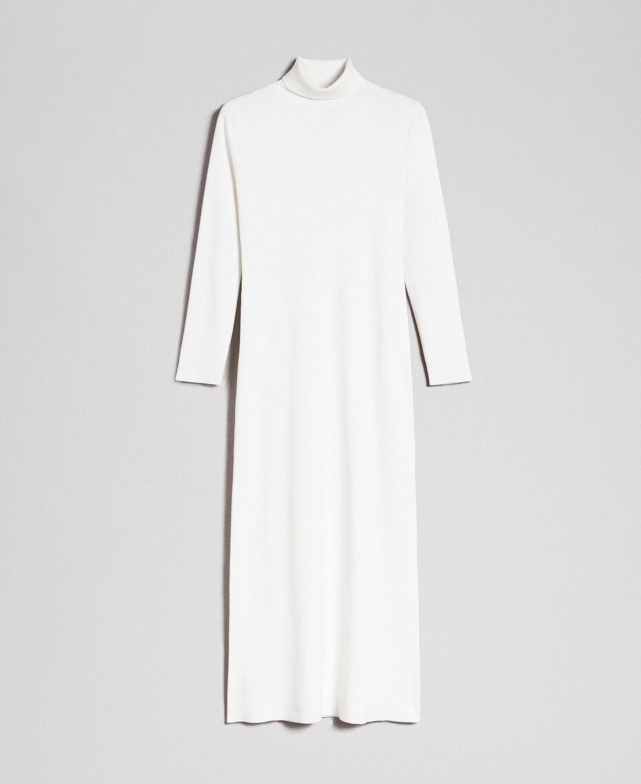 Robe longue en maille Blanc Vanille Femme 192MT3014-0S