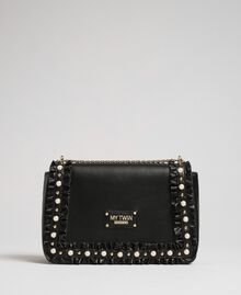 Shoulder bag with flounce and pearls Black Woman 192MA7063-03