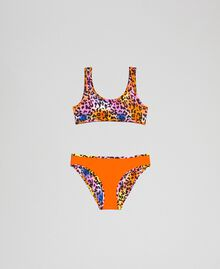 Girl's swimsuit 'Elettra x Twinset' Fluorescent Orange / Leopard Print Child 191TQM029-01