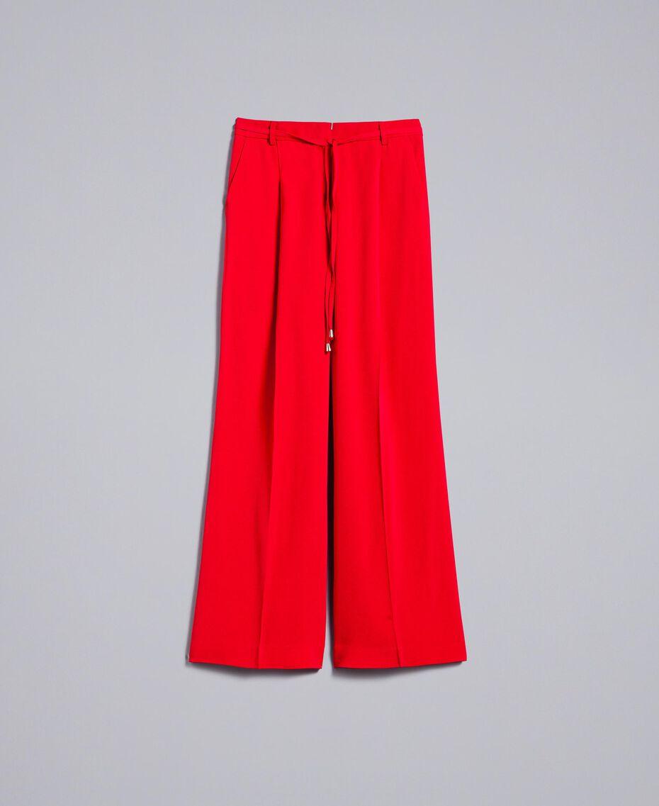 Weite Hose aus Cady Rot Mohn Frau PA825D-0S