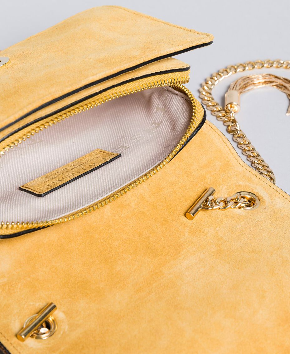 Miniumhängetasche aus Veloursleder Dunkelocker Frau OA8TD2-05