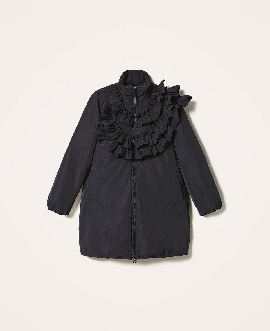 Wattierter Mantel aus Taft mit Rüschen Schwarz Frau 202ST2100-0S