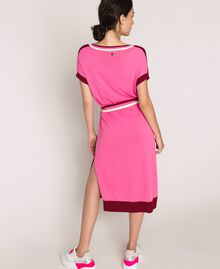 "Two-tone knit dress with belt Two-tone ""Crimson"" Red / Superpink Woman 201ST3030-05"