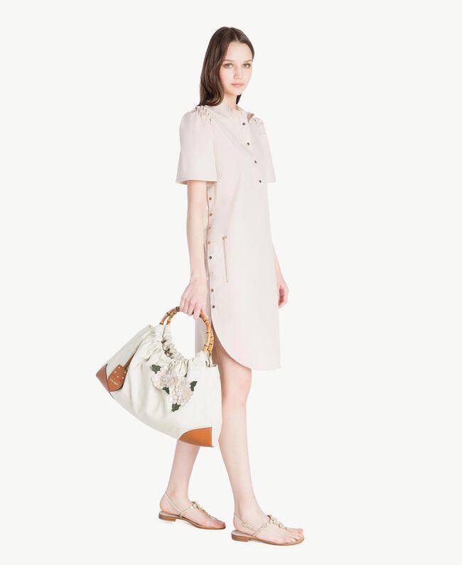 TWINSET Tasche aus Canvas Zweifarbig Dünenbeige / Leder Frau OS8TAF-05