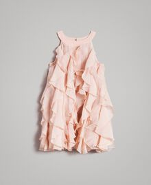 Georgette and organza dress with ruches Blossom Pink Child 191GB2QD0-01