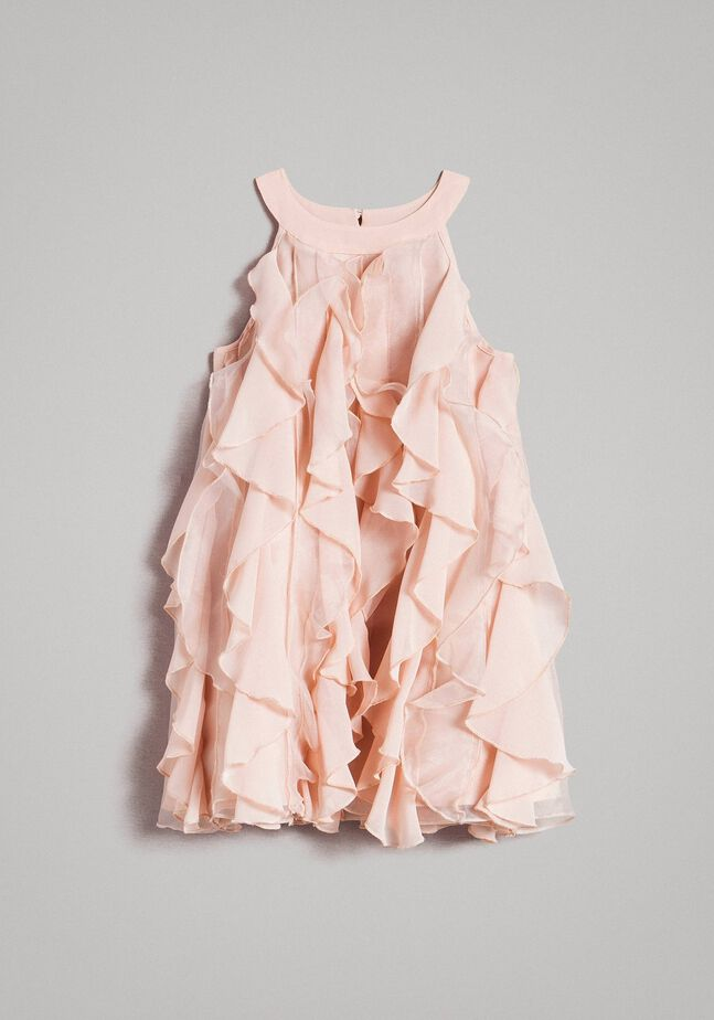 Georgette and organza dress with ruches