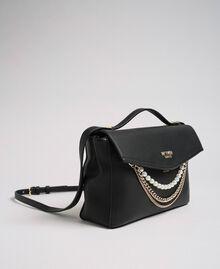 Umhängetasche aus Lederimitat mit Perlen und Kettchen Schwarz Frau 192MA7050-01