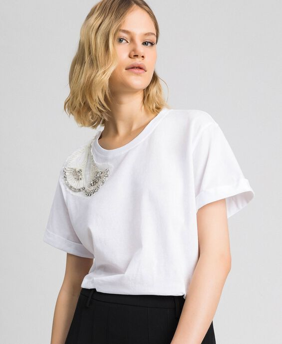 T-shirt with rhinestone and sequin floral embroidery
