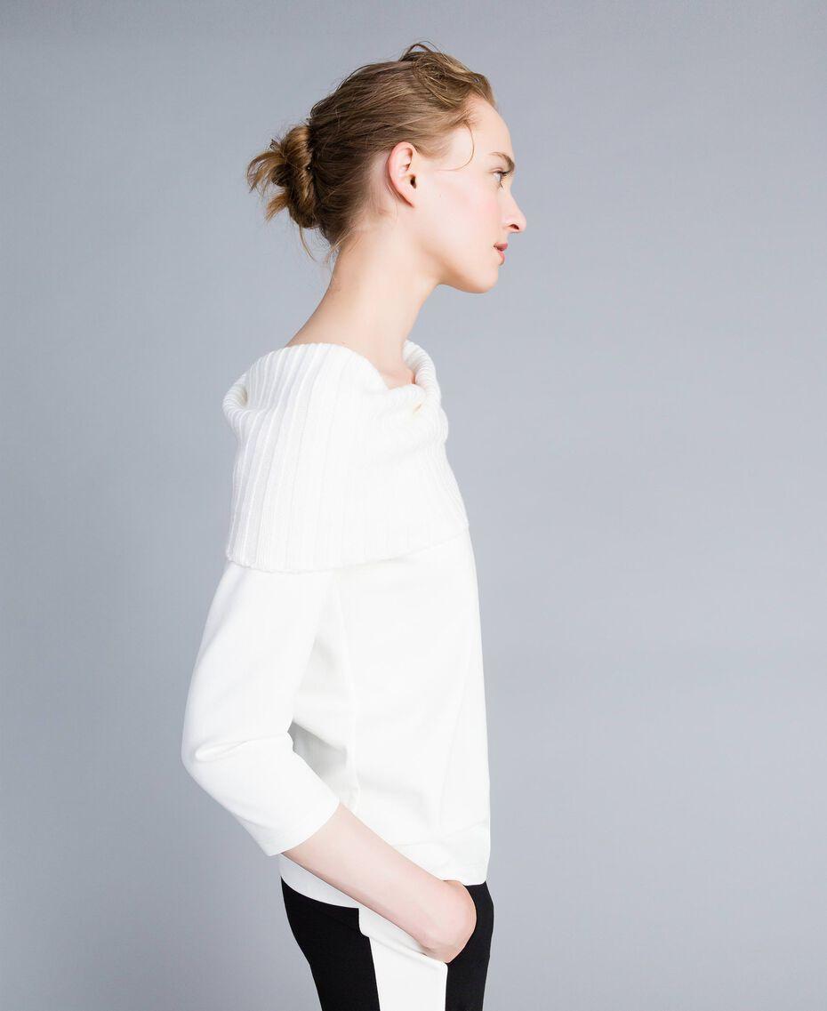 Pull trapèze en point de Milan Blanc Neige Femme PA8215-02