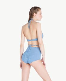 Taillen-Bikinihose mit Streifen Lurexstreifen Lagunenblau Frau MS8CZZ-04