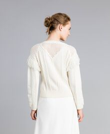 Wool blend jumper with fringes White Snow Woman PA83BA-04