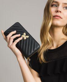 Portefeuille en cuir matelassé Noir Femme 191TA7198-0S