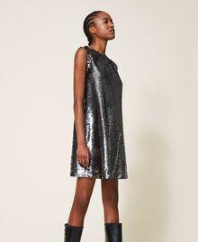 Платье, полностью украшенное пайетками Серый Оружейный ствол женщина 202ST2140-03