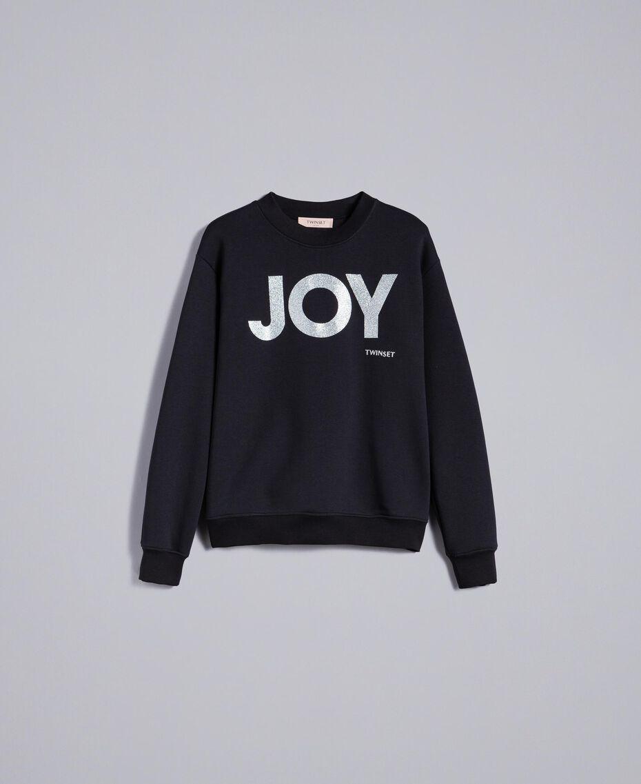 Sweatshirt aus Baumwolle mit Glitter-Print Schwarz Frau QA8TMA-0S