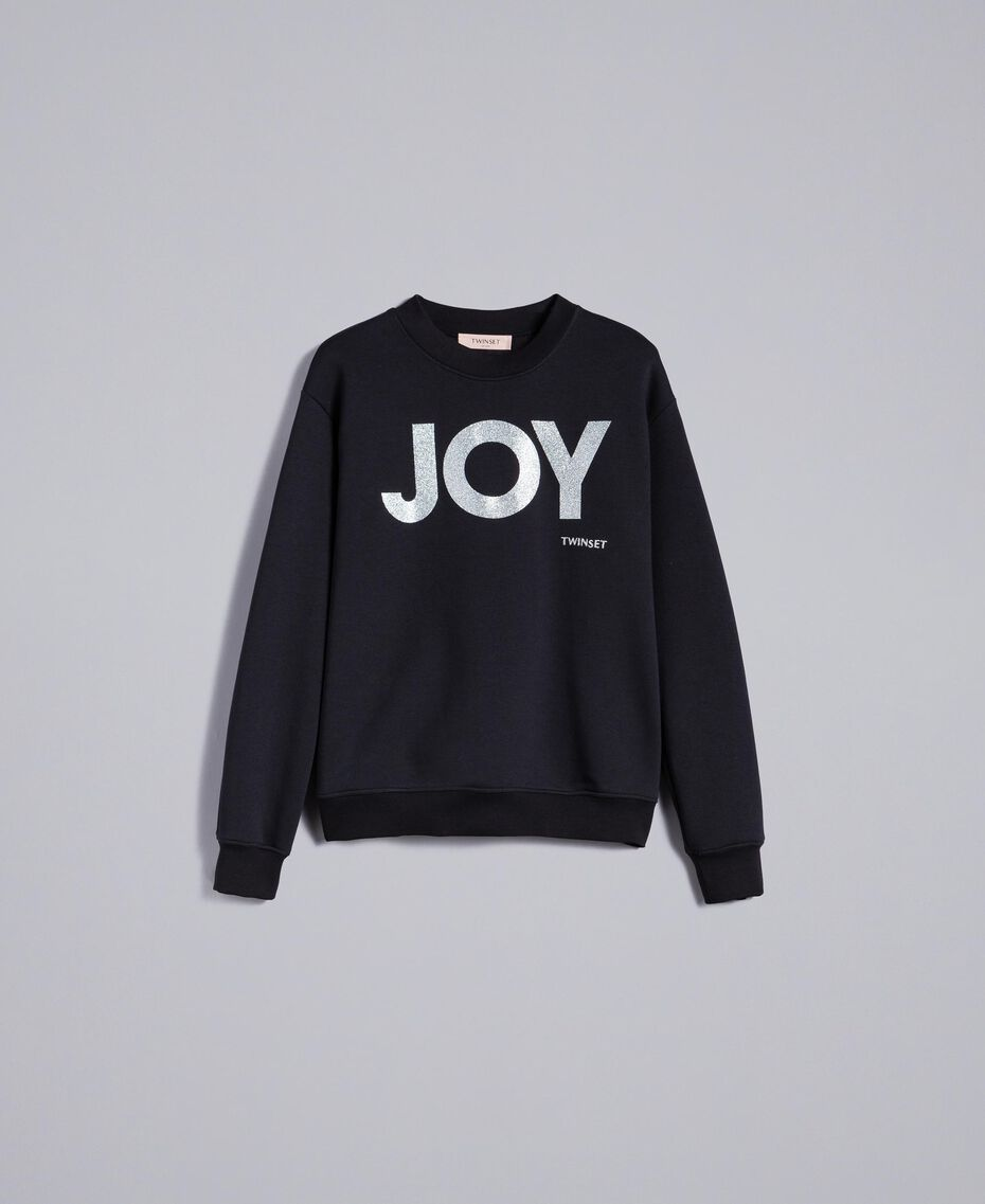 Cotton sweatshirt with glitter print Black Woman QA8TMA-0S