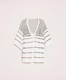 Maxi cardigan avec rayures contrastées Rayé Blanc Antique / Noir Femme 201TT3130-0S