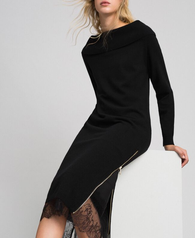 Robe en cachemire mélangé avec fonde robe en dentelle Noir Femme 192TT3091-01