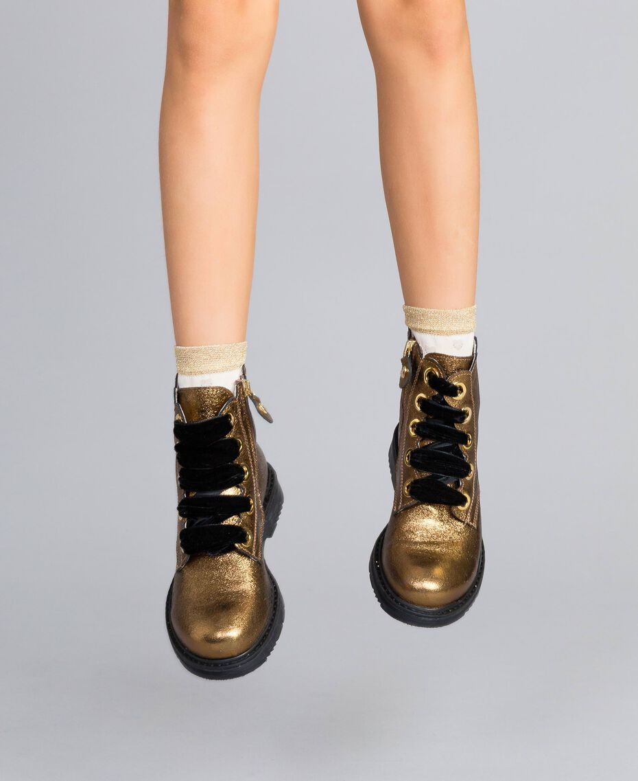"""Leather scalloped boots """"Caramel"""" Brown Child HA88CE-0S"""
