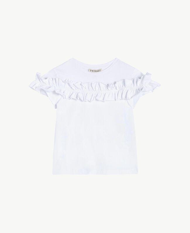 "T-shirt ruches Blanc ""Papers"" Enfant GS82KQ-01"
