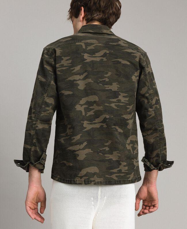 Camouflage print cotton shirt Dark Camouflage Print Man 191UT2020-04