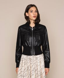 Faux leather jacket with waist band Black Woman 201MP2030-01
