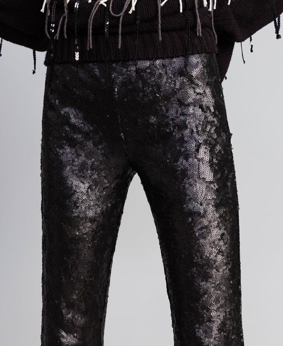Pantaloni in full paillettes Nero Donna QA8TEF-05