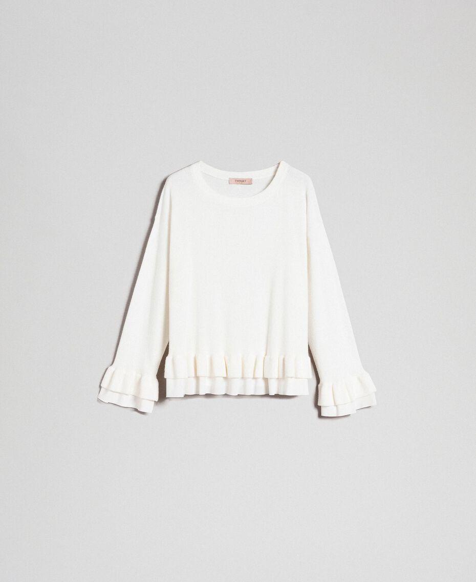 Pull en laine et cachemire Blanc Neige Femme 192TP3214-0S