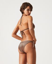 "Bikinitanga aus Lurex mit Schleifen ""Moka Lurex""-Braun Frau 211LMML88-03"