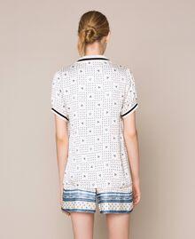 "Short satin pyjamas with logo print Two-tone ""Waterfall"" Blue / Black Woman 201LL28BB-03"