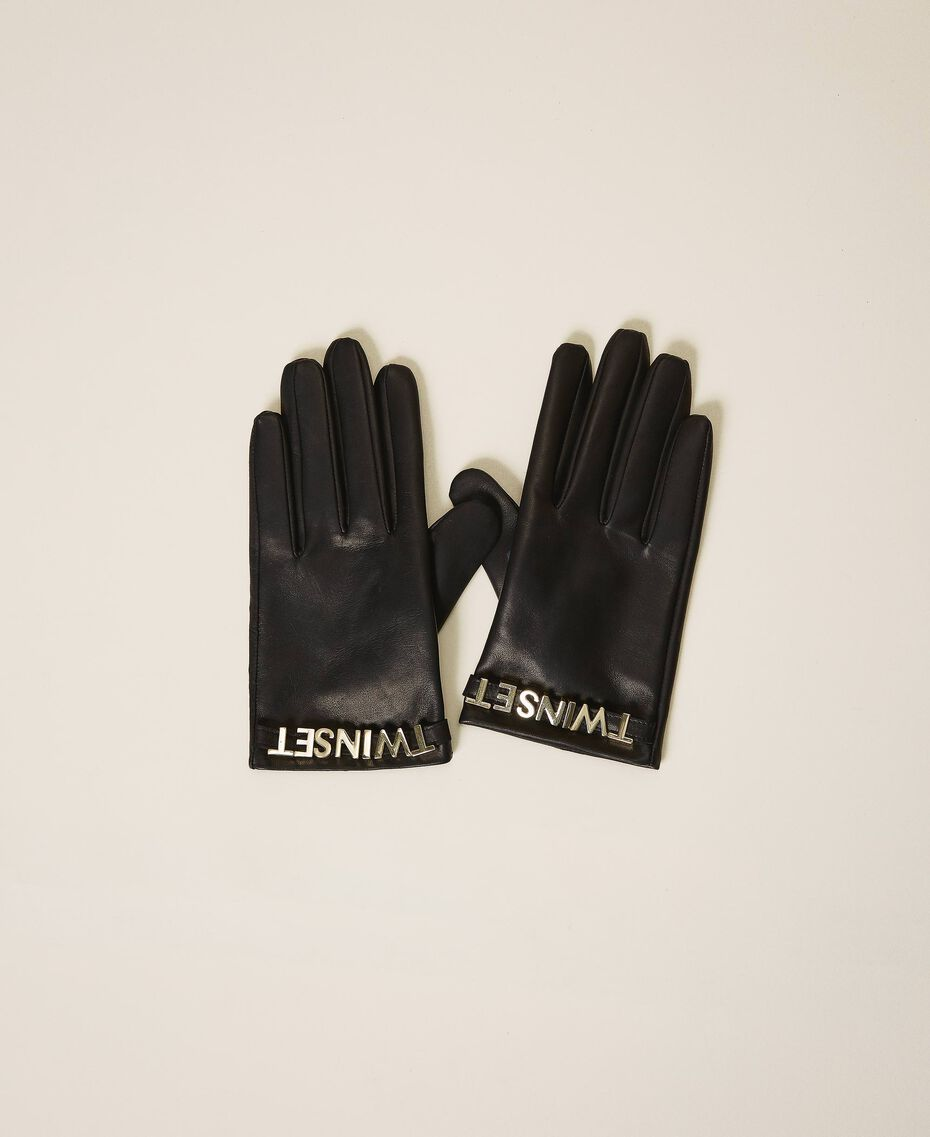 Leather gloves with logo Black Woman 202TA4353-01