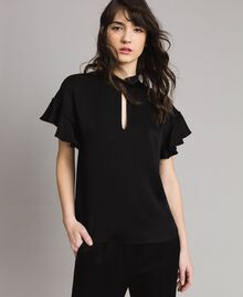 Teardrop opening blouse Black Woman 191TP2694-04