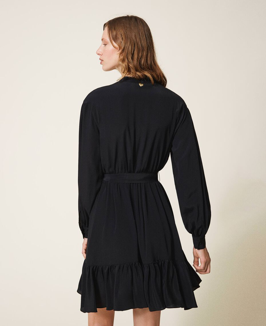 Robe en soie mélangée avec dentelle Noir Femme 202TT2240-03