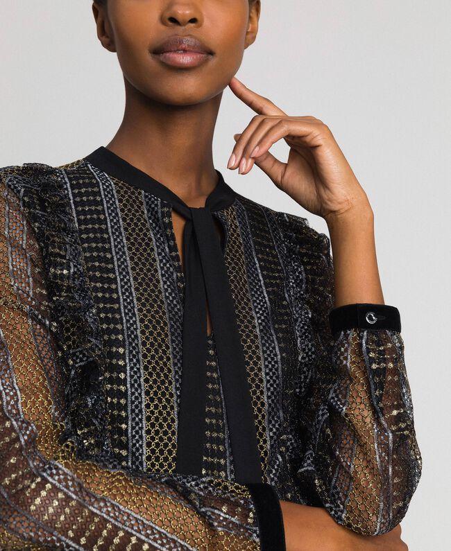 Длинное кружевное платье с люрексом Черный женщина 192TT2360-04