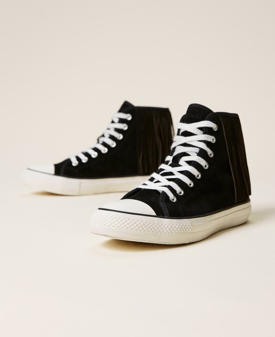 Leather trainers with fringes Black Woman 212TCP100-02