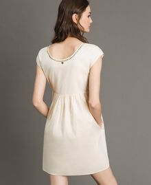 "Poplin dress with print and studs ""Shell"" Beige Woman 191MT2140-04"