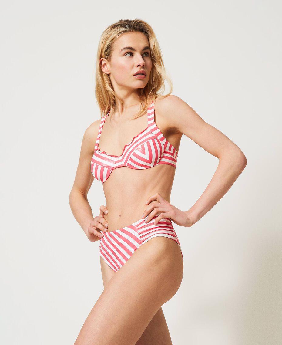 "Striped bikini bottom ""Ivory"" White / ""Cherry Pink"" Woman 211LMMJ99-02"