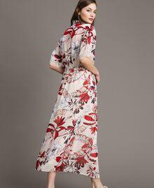 Robe longue en georgette à imprimé floral Imprimé Exotique Écru Femme 191ST2224-03