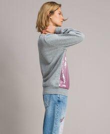 Sweat-shirt avec sequins dégradés Bicolore Mélange Gris Clair / Rose Hortensia Femme 191MP2073-02