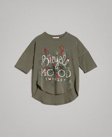 Maxi T-shirt with print and rhinestones Tundra Green Child 191GJ2771-01