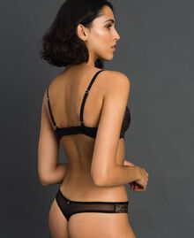 Laminated lace and velvet G-string Bronze Woman 192LL6H88-03