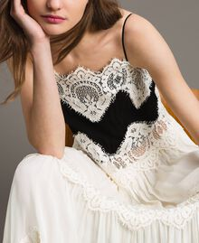 Robe longue en georgette agrémentée de dentelle Bicolore Blanc Neige/ Noir Femme 191TT2100-05