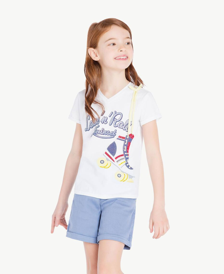 "Printed T-shirt ""Papers"" White Child GS82A1-02"