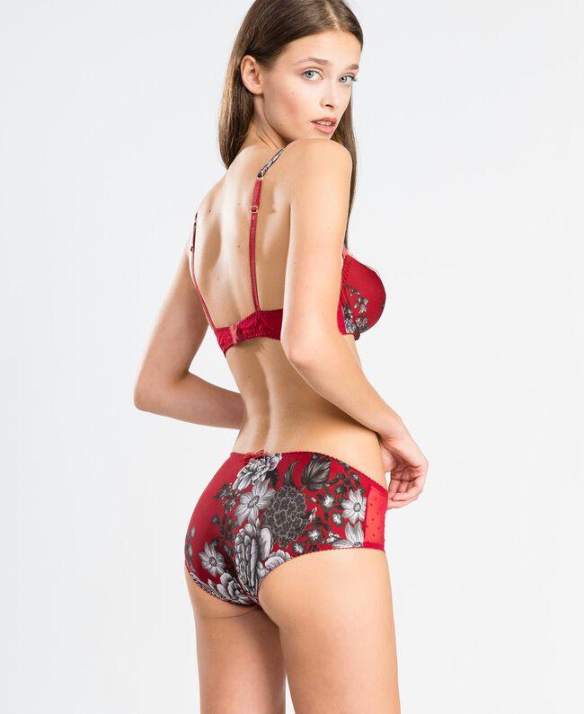 "Printed microfibre balconette ""Reddish"" Red Flower Print Woman LA8K33-03"